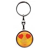 Porte clés métal émoticône amoureux