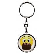 Porte clés métal émoticône anniversaire