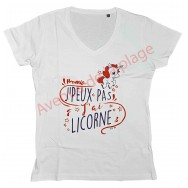 """T-shirt humoristique femme """"J'peux pas j'ai licorne"""""""