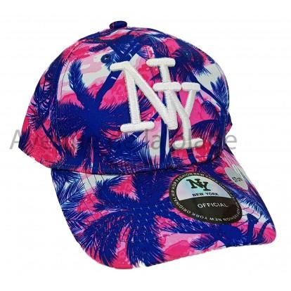 Casquette NY snapback palmiers visière arrondie, modèle A