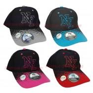 Casquette NY noire visière arrondie bicolore