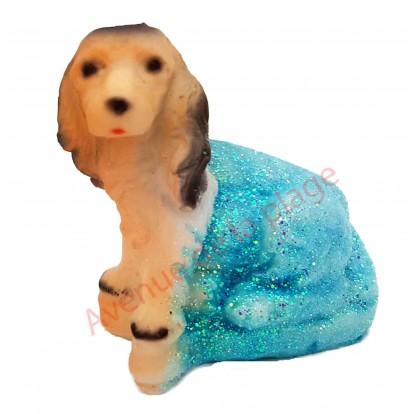 Statuette météo chien assis modèle B, bleu par beau temps.