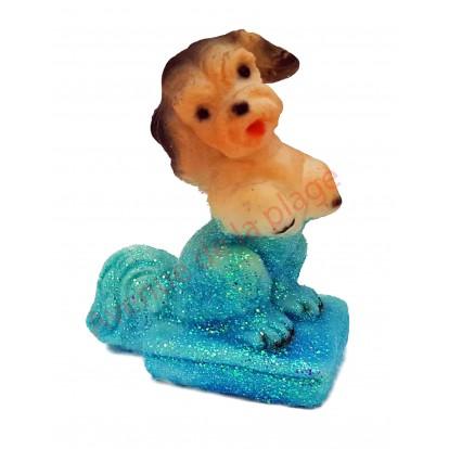 Statuette météo chien assis pattes en l'air, bleu par beau temps.