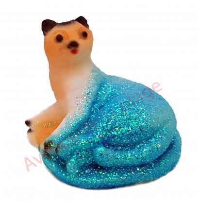 Sujet météo chat couché modèle B, bleu par beau temps.