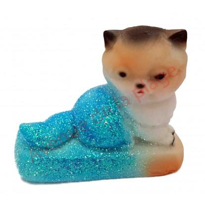 Statuette météo chaton assis, bleu par beau temps.