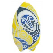 Planche de Skimboard poisson tribal jaune.