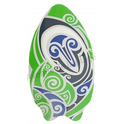 Planche de Skimboard poisson tribal vert.