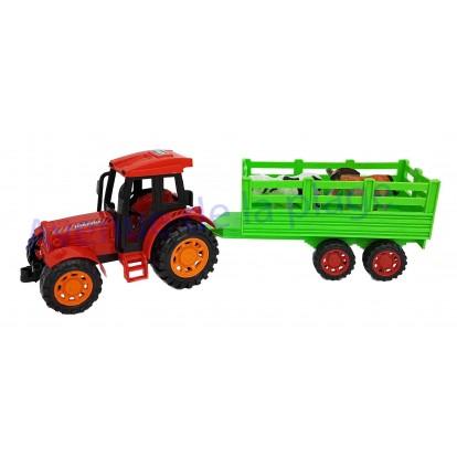 Tracteur rouge avec animaux de la ferme