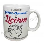 "Mug humoristique ""Prince charmant et licorne"""