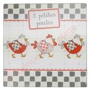 Dessous de plat 3 petites poules