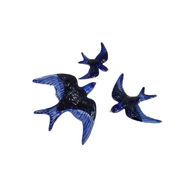 Set de 3 hirondelles en c ramique achat vente for Ceramique murale pas cher