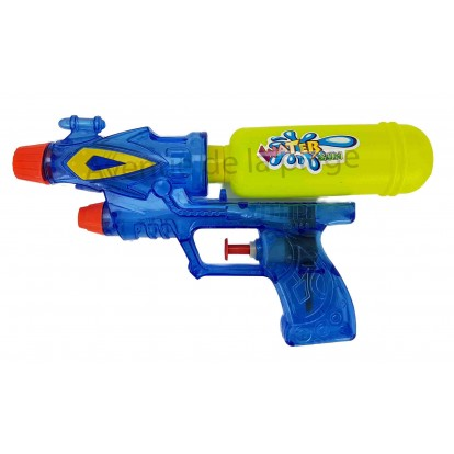 Pistolet à eau double jets pour enfant 20 cm bleu.