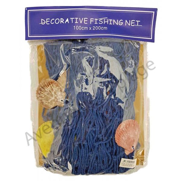 filet de p che bleu avec coquillages 100 x 200 cm d coration marine. Black Bedroom Furniture Sets. Home Design Ideas