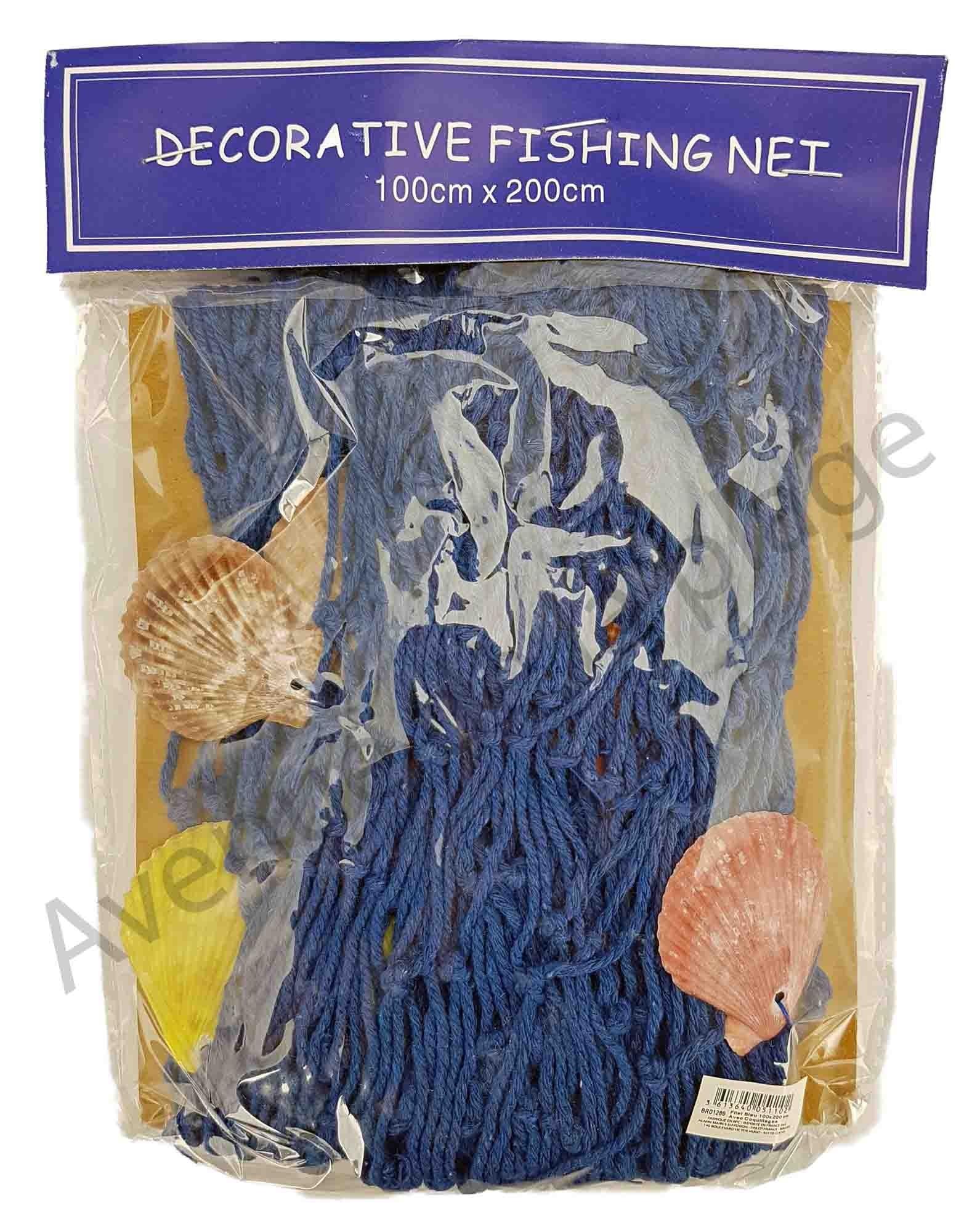 Filet De Peche Déco Pas Cher filet de pêche bleu avec coquillages 100 x