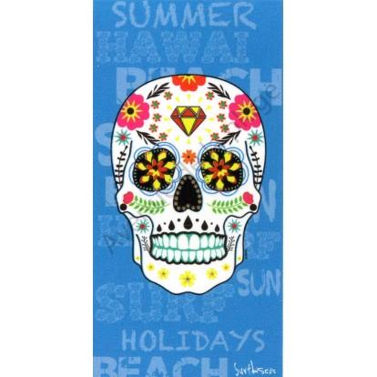 Serviette de plage Tête de mort Mexicaine bleue.