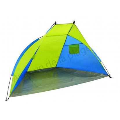 Tente de plage anti-UV 30+ 220 x 120 cm verte et bleue.