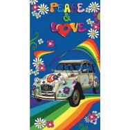 Serviette de plage 2 CV Peace and Love
