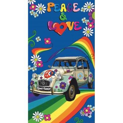 Serviette de plage 2 CV Peace and Love