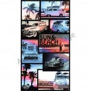 Serviette de plage voitures anciennes en Californie