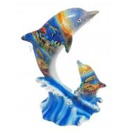 Statuette dauphin et son petit paysage marin