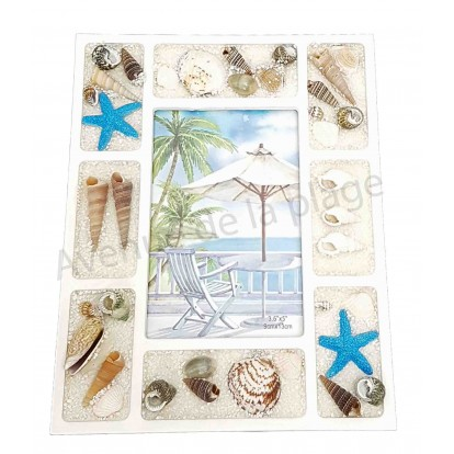 Cadre photo coquillages et sable blanc A