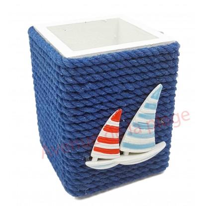 Pot à crayons cordage marin et 2 voiliers.