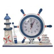 Horloge barre de bateau et phare décoratif