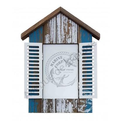 Cadre photo cabine de plage bois vieilli volets ouverts