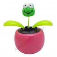 Plante solaire avec grenouille qui se balance