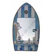 Miroir barque style marin avec mouette, filet, poissons.