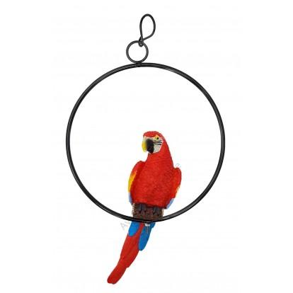 Perroquet rouge sur perchoir 32 cm