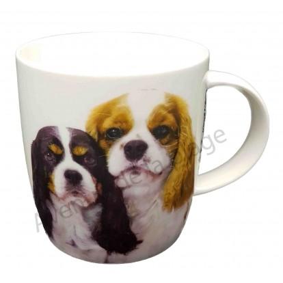Mug chien Cavaliers King Charles tricolore et feu
