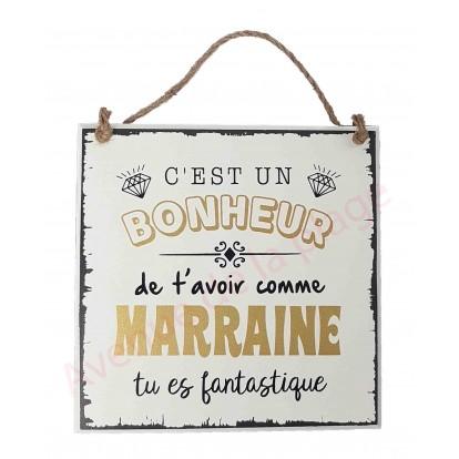 """Plaque message """"Marraine fantastique"""""""