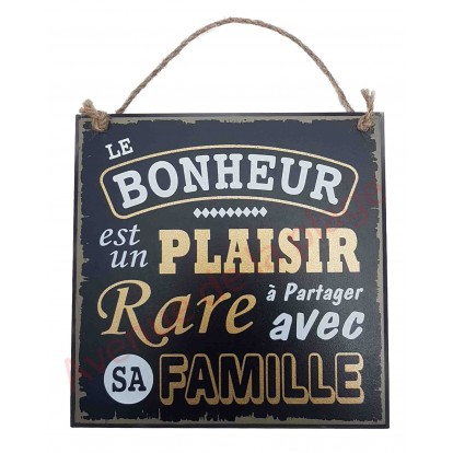 """Plaque message """"Le bonheur en famille"""""""