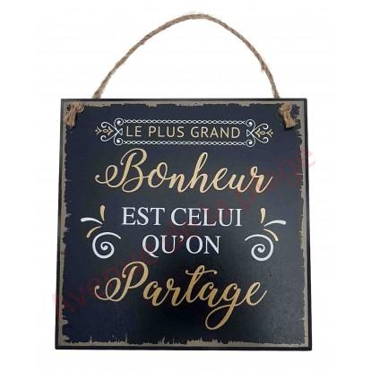 """Plaque message """"Le plus grand bonheur"""""""